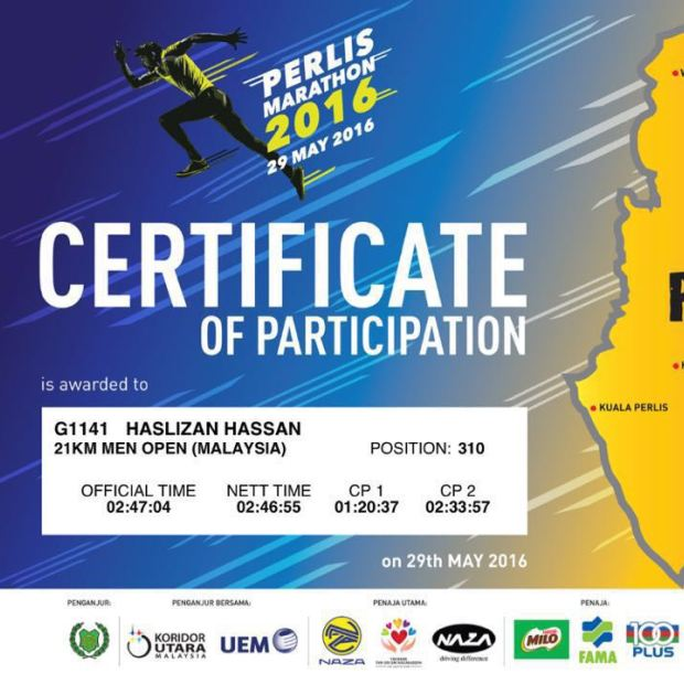 Certificate of participation for Perlis Marathon 2016
